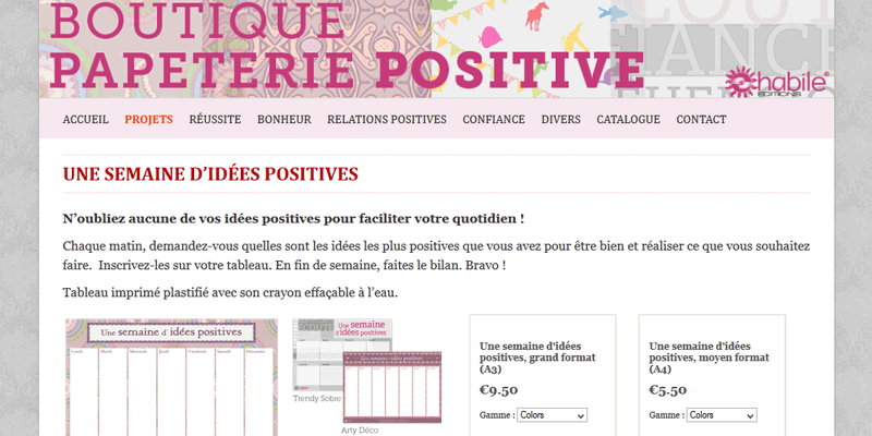 BOUTIQUE PAPETERIE POSITIVE // 2014 // WEBDESIGN